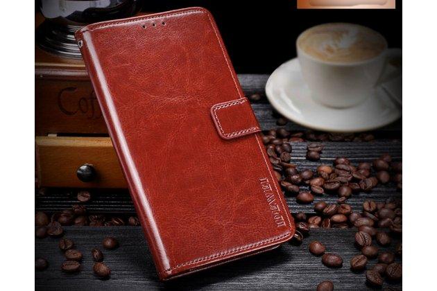 Фирменный чехол-книжка из качественной импортной кожи с подставкой застёжкой и визитницей для Huawei P9 Lite Mini / Huawei Y6 Pro (2017) / Huawei Enjoy 7 коричневый