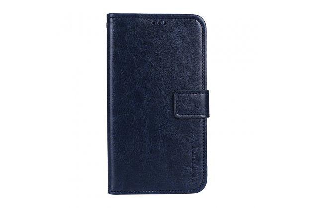 Фирменный чехол-книжка из качественной импортной кожи с подставкой застёжкой и визитницей для Huawei P9 Lite Mini / Huawei Y6 Pro (2017) / Huawei Enjoy 7 синий