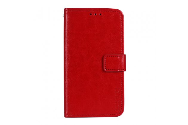Фирменный чехол-книжка из качественной импортной кожи с подставкой застёжкой и визитницей для Huawei P9 Lite Mini / Huawei Y6 Pro (2017) / Huawei Enjoy 7 красный
