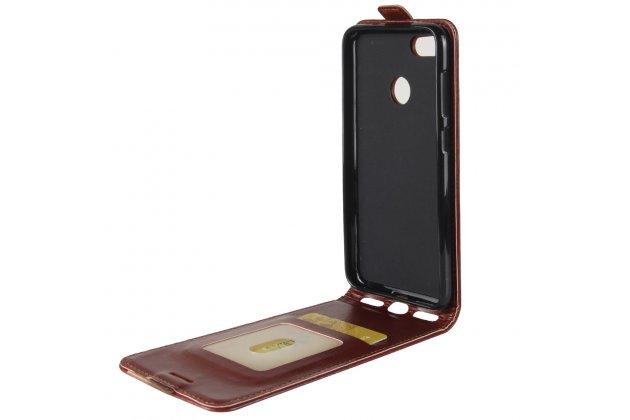 Фирменный оригинальный вертикальный откидной чехол-флип для Huawei P9 Lite Mini / Huawei Y6 Pro (2017) / Huawei Enjoy 7 коричневый из натуральной кожи Prestige