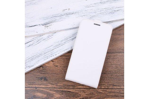 Фирменный оригинальный вертикальный откидной чехол-флип для Huawei P9 Lite Mini / Huawei Y6 Pro (2017) / Huawei Enjoy 7 белый из натуральной кожи Prestige