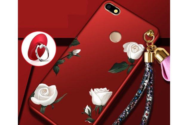 """Фирменная роскошная задняя панель-чехол-накладка  из мягкого силикона с безумно красивым расписным 3D рисунком на Huawei P9 Lite Mini / Huawei Y6 Pro (2017) / Huawei Enjoy 7 """"тематика Белая роза"""""""