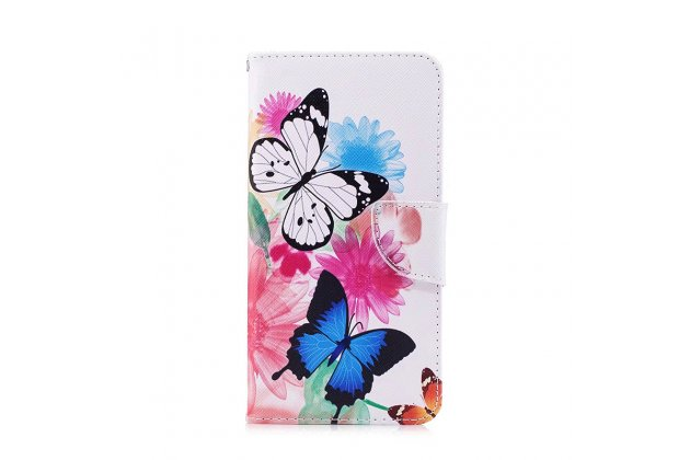 Фирменный уникальный необычный чехол-подставка для Huawei P9 Lite Mini / Huawei Y6 Pro (2017) / Huawei Enjoy 7  тематика Радужные бабочки