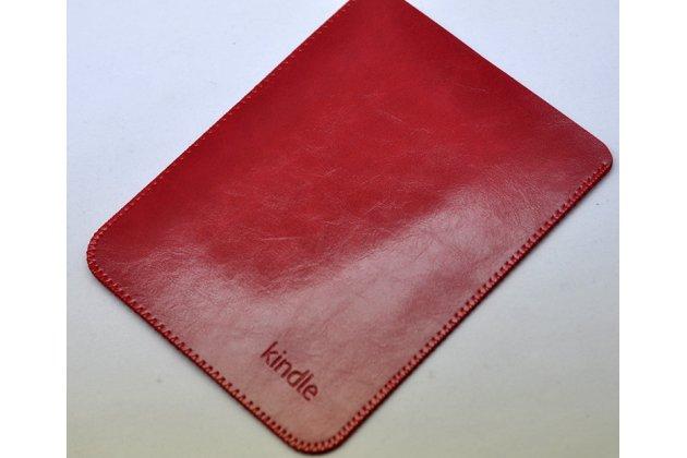 Премиальный чехол-сумка-карман с логотипом для Amazon Kindle 5 / Amazon Kindle 4 Wi-Fi из натуральной кожи красный
