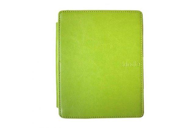 Фирменный оригинальный подлинный чехол с логотипом для Amazon Kindle 5 / Amazon Kindle 4 Wi-Fi из натуральной кожи цвет зеленый