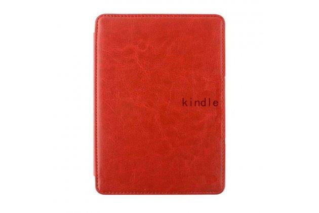 Фирменный оригинальный подлинный чехол с логотипом для Amazon Kindle 5 / Amazon Kindle 4 Wi-Fi из натуральной кожи цвет красный