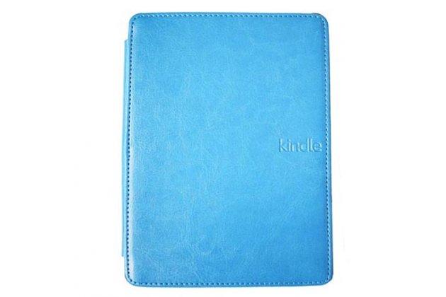 Фирменный оригинальный подлинный чехол с логотипом для Amazon Kindle 5 / Amazon Kindle 4 Wi-Fi из натуральной кожи цвет голубой