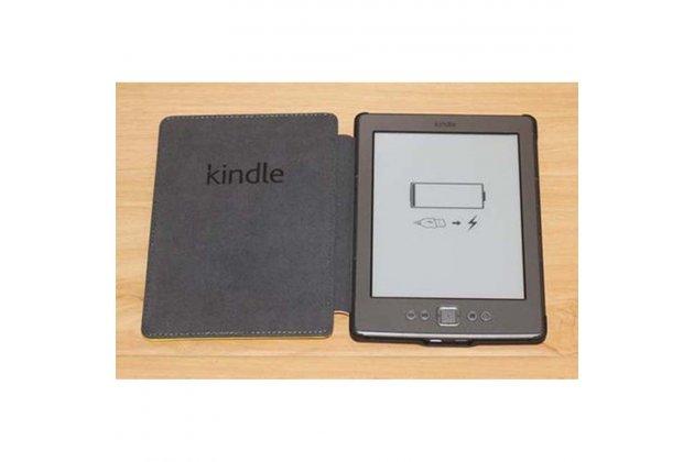 Фирменный оригинальный подлинный чехол с логотипом для Amazon Kindle 5 / Amazon Kindle 4 Wi-Fi из натуральной кожи цвет белый