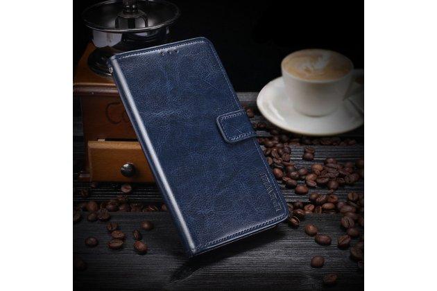 Фирменный чехол-книжка из качественной импортной кожи с подставкой застёжкой и визитницей для ASUS ZenFone Live ZB553KL (5G082RU) 5.5 / Android 7.0 синий