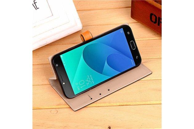 Фирменный чехол-книжка из качественной импортной кожи с подставкой застёжкой и визитницей для ASUS ZenFone Live ZB553KL (5G082RU) 5.5 / Android 7.0 бежевый