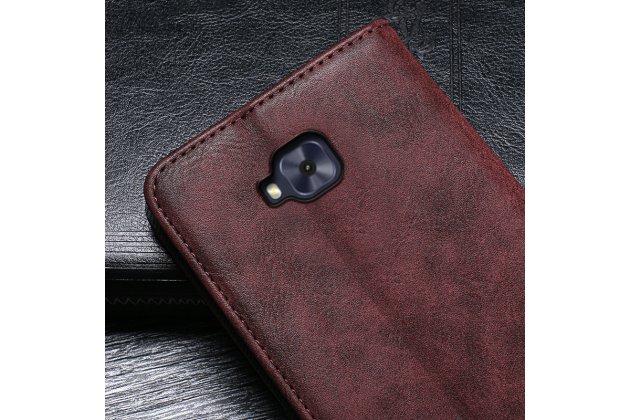 Фирменный чехол-книжка из качественной импортной кожи с мульти-подставкой и визитницей для ASUS ZenFone Live ZB553KL (5G082RU) 5.5 / Android 7.0 коричневый