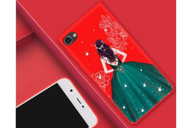 """Фирменная роскошная задняя панель-чехол-накладка  из мягкого силикона с безумно красивым расписным 3D рисунком на BlackBerry Motion """"тематика Изумрудное платье"""""""