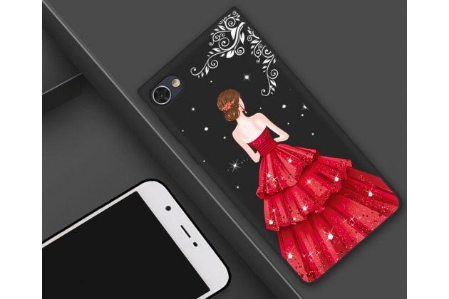 """Фирменная роскошная задняя панель-чехол-накладка  из мягкого силикона с безумно красивым расписным 3D рисунком на BlackBerry Motion """"тематика Красное платье"""""""