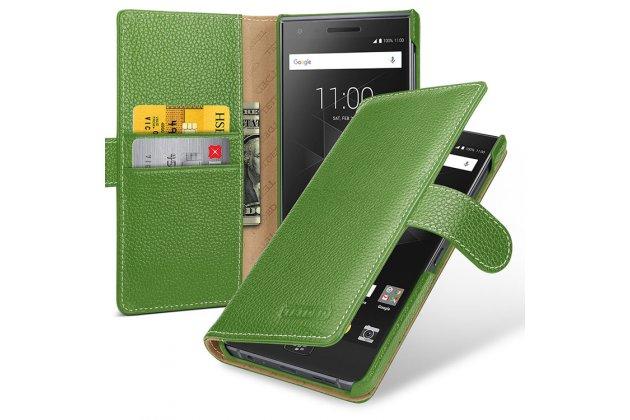 Фирменный чехол-книжка из качественной импортной кожи с подставкой застёжкой и визитницей для BlackBerry Motion зеленый