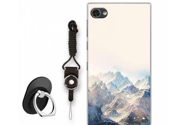 """Фирменная роскошная задняя панель-чехол-накладка  из мягкого силикона с безумно красивым расписным 3D рисунком на BlackBerry Motion """"тематика Снежные горы"""""""