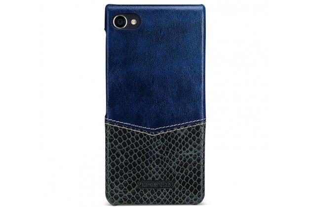 Фирменная роскошная элитная премиальная задняя панель-крышка для BlackBerry Motion из качественной кожи буйвола с вставкой под кожу рептилии в синем цвете