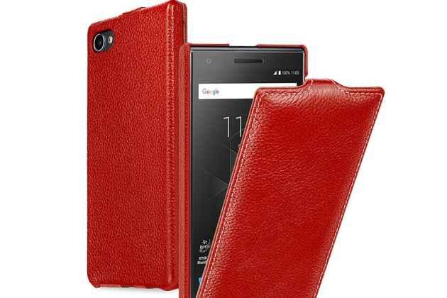 Фирменный оригинальный вертикальный откидной чехол-флип для BlackBerry Motion красный из натуральной кожи Prestige