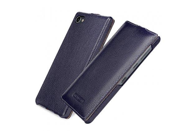 Фирменный оригинальный вертикальный откидной чехол-флип для BlackBerry Motion синий из натуральной кожи Prestige