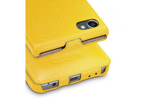 Фирменный оригинальный вертикальный откидной чехол-флип для BlackBerry Motion желтый из натуральной кожи Prestige
