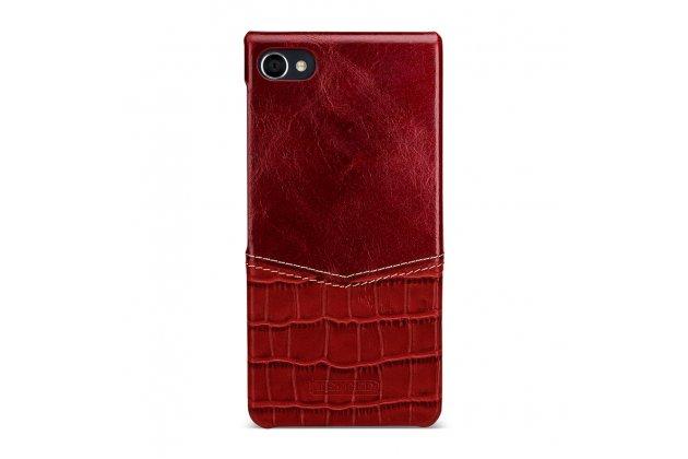 Фирменная роскошная элитная премиальная задняя панель-крышка для BlackBerry Motion из качественной кожи буйвола с вставкой под кожу рептилии в красном цвете