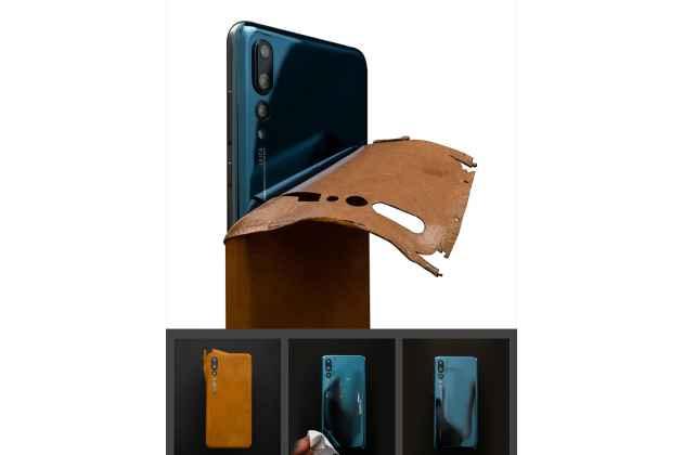 Оригинальная эксклюзивная задняя кожаная наклейка (из натуральной кожи) для Huawei Nova 3 желтая