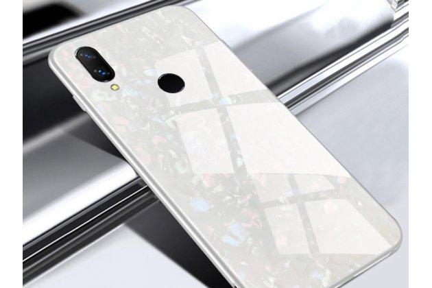 Фирменный ультра-тонкий силиконовый чехол-бампер для Huawei Nova 3 с закаленным стеклом на заднюю крышку телефона белый