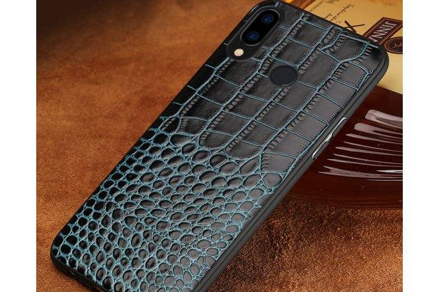 Фирменная элегантная экзотическая задняя панель-крышка с фактурной отделкой натуральной кожи крокодила синего цвета для Huawei Nova 3. Только в нашем магазине. Количество ограничено.