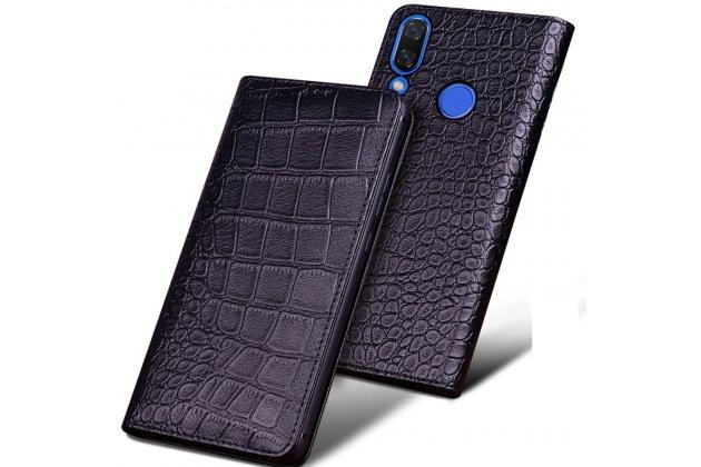 Фирменный роскошный эксклюзивный чехол с фактурной прошивкой рельефа кожи крокодила черный для Huawei Nova 3. Только в нашем магазине. Количество ограничено