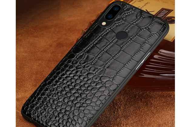 Фирменная элегантная экзотическая задняя панель-крышка с фактурной отделкой натуральной кожи крокодила черного цвета для Huawei Nova 3. Только в нашем магазине. Количество ограничено.