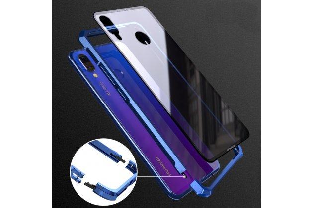 Неубиваемый противоударный ударопрочный фирменный чехол-бампер для Huawei Nova 3 с металлическими защитными углами со стеклом задней крышки Gorilla Glass цвет черный