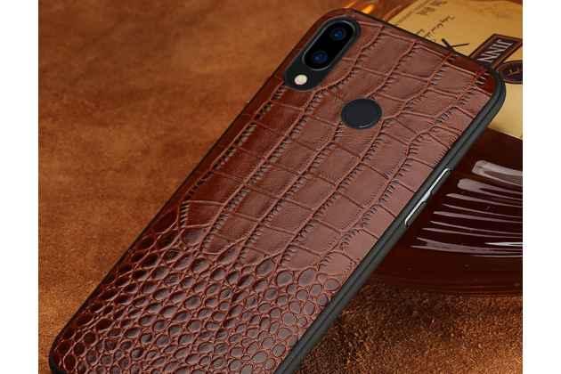 Фирменная элегантная экзотическая задняя панель-крышка с фактурной отделкой натуральной кожи крокодила кофейного цвета для Huawei Nova 3 . Только в нашем магазине. Количество ограничено.