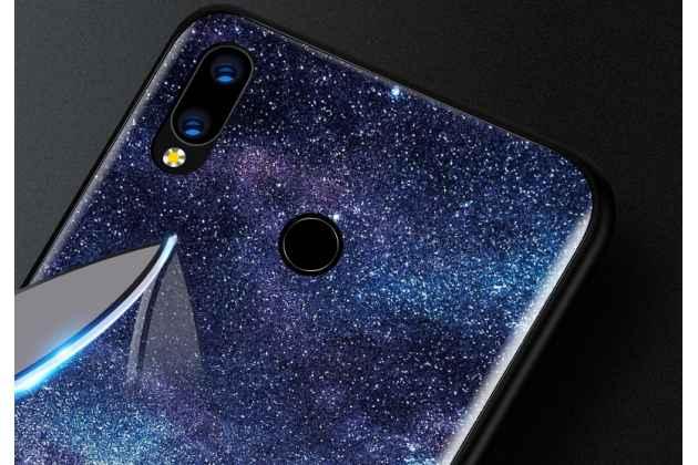 """Фирменный ультра-тонкий силиконовый чехол-бампер для Huawei Nova 3 с закаленным стеклом на заднюю крышку телефона """"тематика Ночь"""""""
