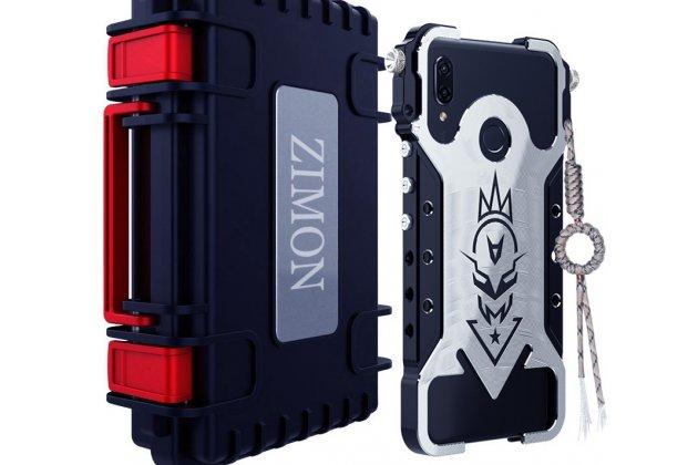 Противоударный металлический чехол-бампер из цельного куска металла с усиленной защитой углов и необычным экстремальным дизайном  для  Huawei Nova 3 черного цвета
