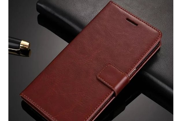 Фирменный чехол-книжка из качественной импортной кожи с подставкой застёжкой и визитницей для Huawei Nova 3 коричневый