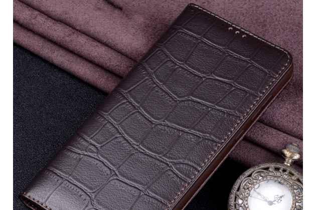 Фирменный роскошный эксклюзивный чехол с фактурной прошивкой рельефа кожи крокодила коричневый для Huawei Nova 3. Только в нашем магазине. Количество ограничено