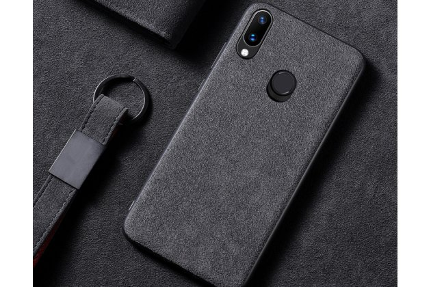 Фирменная оригинальная задняя панель-крышка-накладка из замши для Huawei Nova 3 в черном цвете