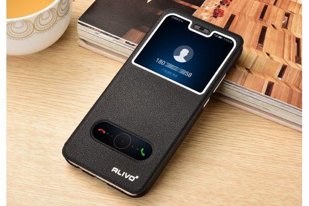 Фирменный чехол-книжка для Huawei Nova 3 черный с окошком для входящих вызовов и свайпом водоотталкивающий