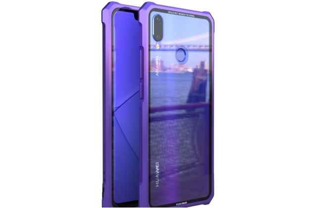 Неубиваемый противоударный ударопрочный фирменный чехол-бампер для Huawei Nova 3 с металлическими защитными углами со стеклом задней крышки Gorilla Glass цвет фиолетовый