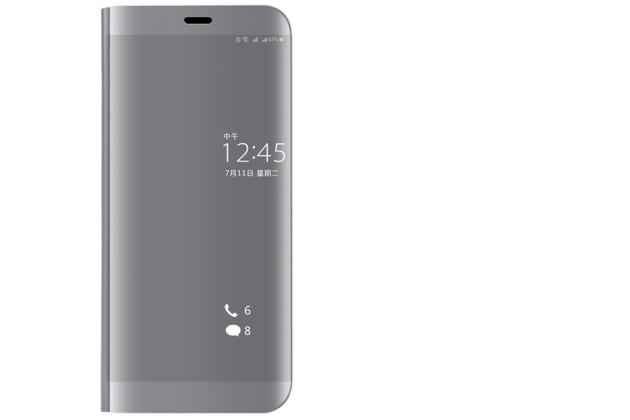 """Чехол-книжка с дизайном """"Clear View Standing Cover""""  полупрозрачный с зеркальной поверхностью для Huawei Nova 3 серебристый"""