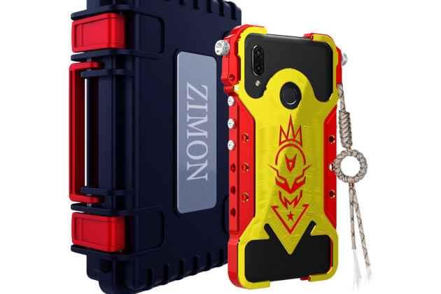 Противоударный металлический чехол-бампер из цельного куска металла с усиленной защитой углов и необычным экстремальным дизайном  для  Huawei Nova 3 красное золото