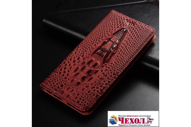 Фирменный роскошный эксклюзивный чехол с объёмным 3D изображением кожи крокодила цвет красное вино для Huawei Honor V10 / Honor View 5.99 (BKL-AL20)  Только в нашем магазине. Количество ограничено