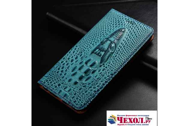 Фирменный роскошный эксклюзивный чехол с объёмным 3D изображением кожи крокодила синий для Huawei Honor V10 / Honor View 5.99 (BKL-AL20)  Только в нашем магазине. Количество ограничено