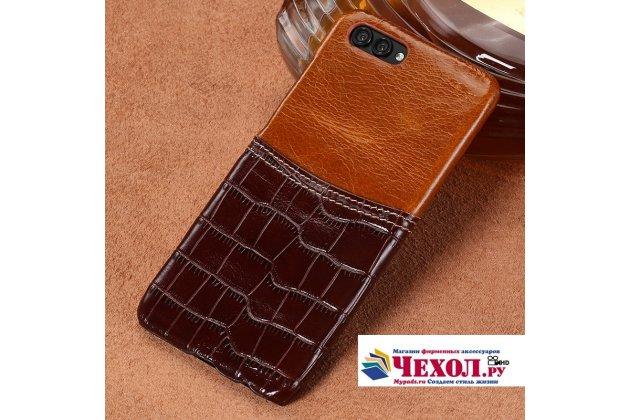 Фирменная роскошная элитная премиальная задняя панель-крышка для Huawei Honor V10 / Honor View 5.99 (BKL-AL20) из качественной кожи буйвола с вставкой под кожу рептилии в коричневом цвете