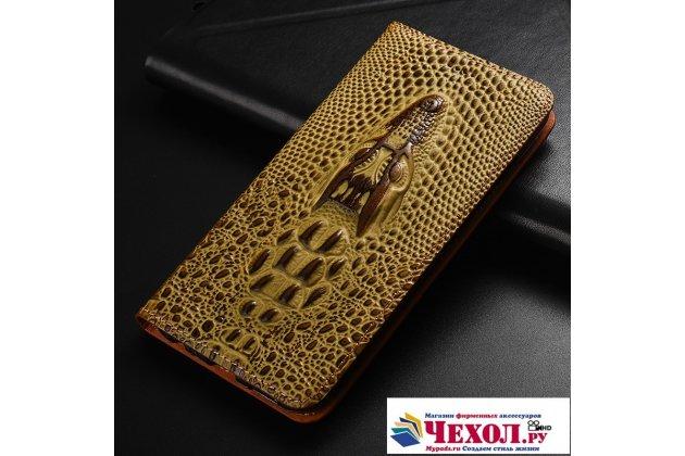 Фирменный роскошный эксклюзивный чехол с объёмным 3D изображением кожи крокодила коричневый для Huawei Honor V10 / Honor View 5.99 (BKL-AL20)  . Только в нашем магазине. Количество ограничено
