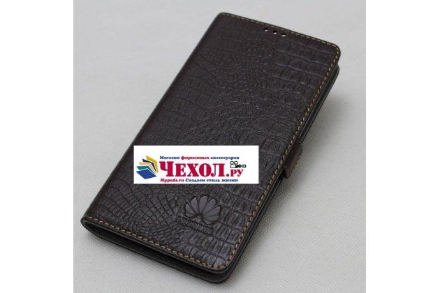Фирменный оригинальный подлинный чехол с логотипом для Huawei Honor V10 / Honor View 5.99 (BKL-AL20) из натуральной кожи крокодила темно-коричневый