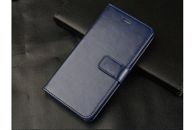 Фирменный чехол-книжка из качественной импортной кожи с подставкой застёжкой и визитницей для Huawei Honor 8X Max (ARE-AL00) 7.12 синий