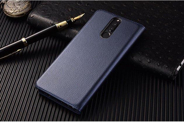 Фирменный оригинальный чехол-книжка для Huawei Honor V10 / Honor View 5.99 (BKL-AL20) синий с окошком для входящих вызовов водоотталкивающий