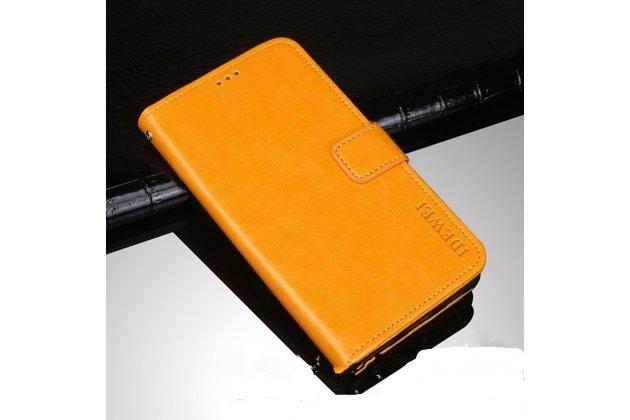 Фирменный чехол-книжка из качественной импортной кожи с подставкой застёжкой и визитницей для Huawei Honor V10 / Honor View 5.99 (BKL-AL20) желтый
