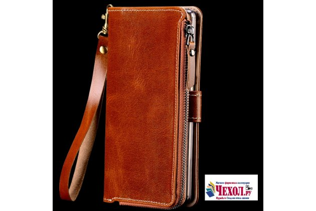 Фирменный чехол-портмоне-клатч-кошелек на силиконовой основе из качественной импортной кожи для Huawei Honor V10 / Honor View 5.99 (BKL-AL20) коричневый