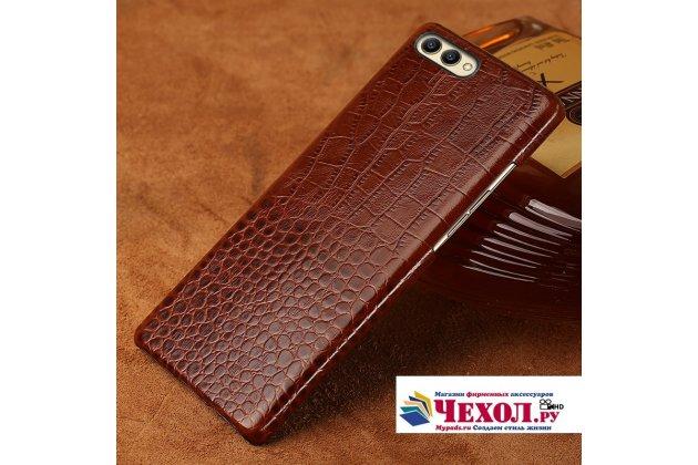 Фирменная элегантная экзотическая задняя панель-крышка с фактурной отделкой натуральной кожи крокодила для Huawei Honor V10 / Honor View 5.99 (BKL-AL20) коричневая. Только в нашем магазине. Количество ограничено.